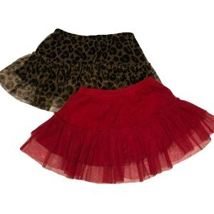 4/$25 Red and Leopard Print Mesh Tulle Skirt